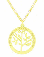 Family Tree Of Life Pendant Personalised Engraved Name Necklace Gold Plated Gift