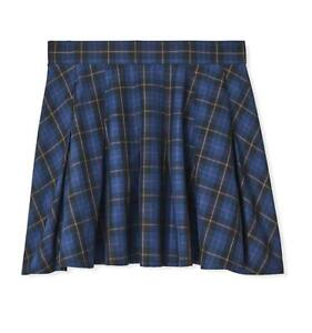 Torrid 2 (2X) Navy Blue Pleated Schoolgirl Plaid Twill Punk Goth Skater Skirt