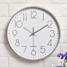 "12"" Round Modern Quartz Wall Clock Large Silent Non Ticking Arabic Numerals"