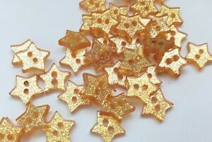 """10 Gold Star Glitter Buttons 13mm 1/2"""" Sparkly Red Buttons for Christmas Knits"""