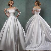 Vintage A line Wedding Dresses Off Shoulder Long Sleeve Satin Bridal Gown Custom