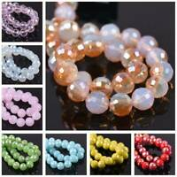 36Pcs 8mm 96 Facets Round Faceted Czech Crystal Glass Loose Spacer Beads Crafts