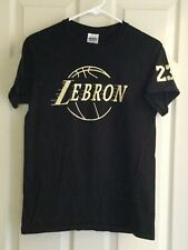 LeBron James #23  Black w/ Gold Lettering GOAT T-Shirt Size Small