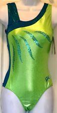 Gk Asym Spruce Hologram Adult Medium Lime Blue Foil Sequins Gymnastic Leotard Am
