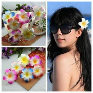 2 PCS Hawaiian Frangipani Plumeria Foam Head Flower Party Beach Hair Clip 6.5cm