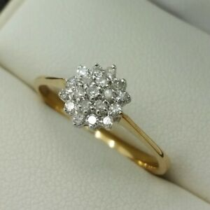 9ct Yellow Gold Little Diamond Set Cluster Ring, Finger Size M 1/2