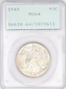 1943-P Walking Liberty Half Dollar PCGS MS64 Old Rattler Holder Nice Coin AC731