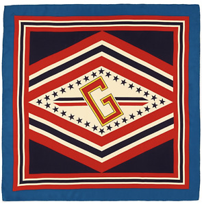 NWT Gucci Varsity G Logo Star Blue Red Ivory Striped Large Square Scarf $495