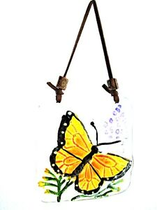 * UNUSUAL GLASS WALL PLAQUE WITH BUTTERFLY * Handmade from Chile - Hang Indoors