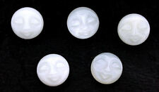 ONE 16mm Round Natural Carved White Moonstone Face Gemstone Cabochon EBS46