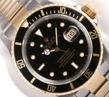 Rolex Submariner 16613 Two Tone 18k & S/Steel Oyster 40mm Watch-Black Insert-BOX