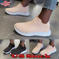 Women Casual Mesh Comfy Trainers Walk Sports Knitted Sock Sneakers Slip On Shoes