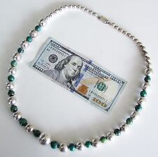 BIG Signed Taxco Mexican Sterling Silver Turquoise Bead Necklace Vintage