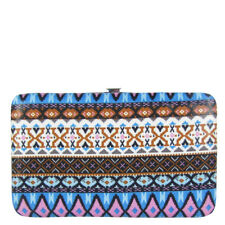 BLUE TRIBAL PATTERN DESIGN FLAT THICK WALLET MONTANA WEST CLASP BIFOLD BLING NEW
