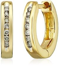 18k Yellow Gold Over Sterling Silver Diamond Huggie Earrings (1/10 cttw, I-J Col