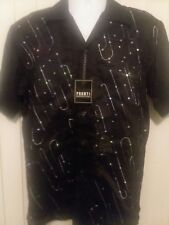 Vintage Pronti Collection by Phita Button Down Black Sequin Short Sleeve Shirt M