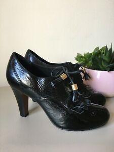 Bertie Shoe Boots Black Patent Leather Brogue Tassel Steampunk Dark Academia 6.5