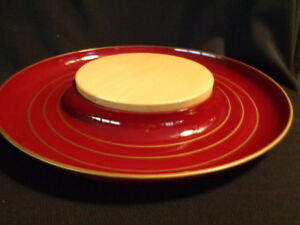 Lacquer & Wood Cheese and Cracker Platter,  Serving Dish Vintage