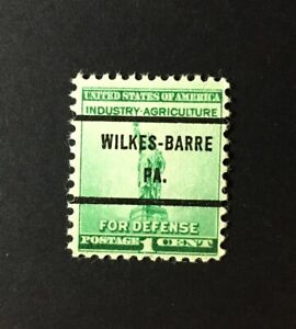 Wilkes-Barre, Pennsylvania Precancel - 1 cent Defense Issue U.S. #899 - PA