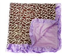 Large NEW Girls Purple Giraffe  Baby Keepsake Minky Dot Blanket w/ Satin Ruffles