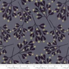 Moda Zen Chic White Christmas Metallic Mistletoe Fabric in Graphite 1656-14M