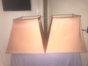 A Pair Of Large Square Lampshades In Good Condition