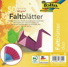 Faltblätter Origami DUO Zweifarbig 15x15cm 80g/m²  50 Blatt in 10 Farben