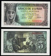 EXCELENTE BILLETE de 5 Pesetas SIN SERIE año 1943 Isabel la Católica. Nº 8049186