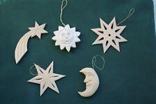 Weihnachtsschmuck Christbaumschmuck Holz geschnitzt Handarbeit Sonne Mond Sterne