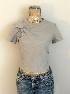 T by Alexander Wang T-Shirt Top Twist Knot, Gray Women's Sz M