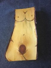 "Carving Sculpture Womans Torso on Tree Trunk Bark 14.5"" tall"