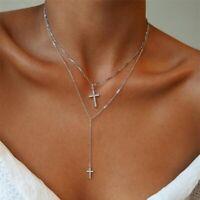 Zirkonia Doppel Kreuz Anhänger Rund Halskette Silber Farbe Damen