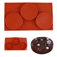 3-Cavity Large Round Disk Silicone Mold Classic Diamond Flower Forms Baking Mold
