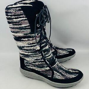 Womens 9 Merrell Pechora Sky Winter Boots Black White Boucle Spun Wool Lining