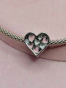 Silver Pink & White Openwork Heart Charm For European Bracelets and Necklaces