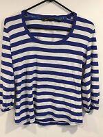 Women's Eddie Bauer Blue and White Striped Top Size XS