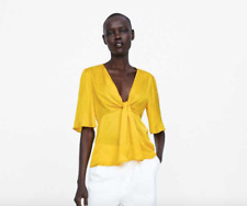 ZARA YELLOW SATIN BLOUSE WITH KNOT DETAIL FLARED SLEEVES TOP Small