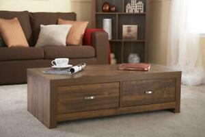 Coffee Table Storage Unit 2 Wide Drawers Occasional Dark Acadia Solid Wood