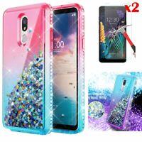 For LG K30 2019/Prime 2/Aristo 4+/Escape Plus Case Bling Cover+Screen Protector