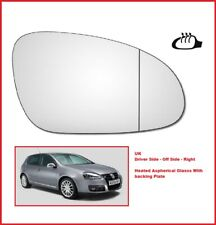 VW Golf MK5 2003 - 2009 Right Driver Side Replacement Heated Wing Mirror Glass