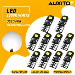 10Pcs AUXITO T10 194 168 W5W SMD LED White CANBUS Error Free Wedge Light Bulb N