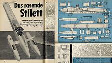 """Bauplan für das Fesselrennboot """"Stiletto"""" Stückliste Original aus dem Jahr 1964"""