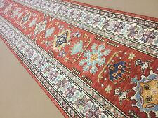 """Persian Oriental Rug Runner Geometric Hand Knotted Red Beige 2'.7"""" X 12'.10"""""""