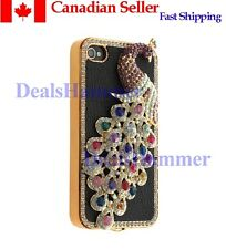 3D Diamante Bling Rhinestone Peacock Hard Case 4 iPhone 4 G 4S Black FROM CANADA