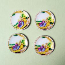 "Hansson Miniature 1:12 - 4 Yellow dinner Plates w/ romantic scene 15/16"" across"