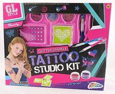 GL stile glitter e Sparkle Bambine TATTOO STUDIO KIT CON STENCIL penne & jewells