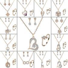 Rhinestone Crystal Pearl Necklace Earrings Ring Women Wedding Bridal Jewelry Set