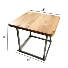 Square Side Table Coffee Oak Wood / Metal Base Tea Table Handcrafted