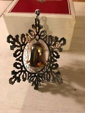 1983 REED & BARTON SilverPlated SNOWFLAKE & BELL Christmas Ornament