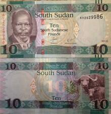 SOUTH SUDAN 2016 10 POUNDS P-NEW UNC BANKNOTE WATER BUFFALO FROM A USA SELLER !!